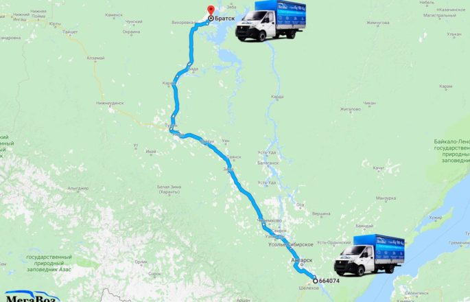 Грузоперевозки по маршруту Иркутск - Братск